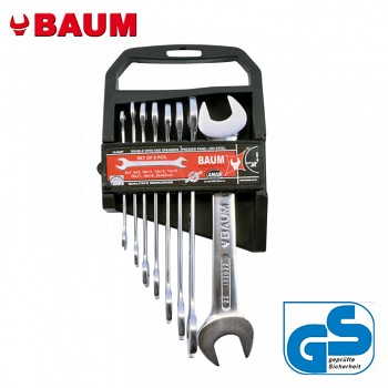 Sada maticových klíčů oboustranných otevřených 8 ks DIN 3110 Bau