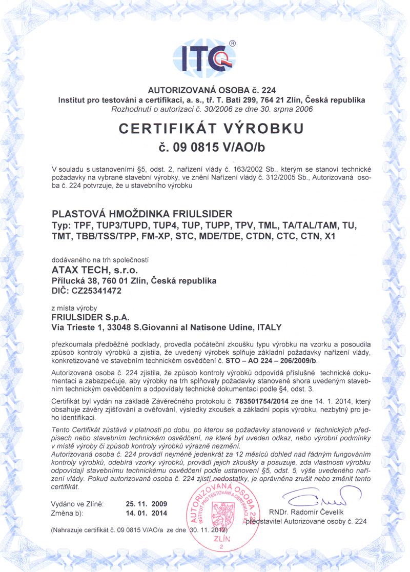 b0a2a14870b Certifikace - uzlovací hmoždinka X1