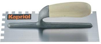 Hladítko ocelové zub dřevěná rukojeť 280 x 120 / E 10 mm levé KAPRIOL