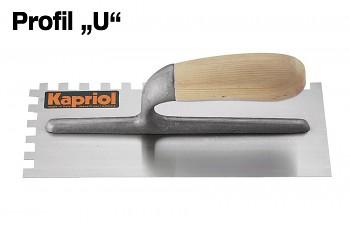Hladítko ocelové zub dřevěná rukojeť 280 x 120 / U 10 mm KAPRIOL