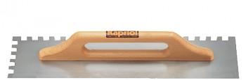 Hladítko ocelové zub dlouhé dřevěná rukojeť 500 x 140 / E 12 mm KAPRIOL