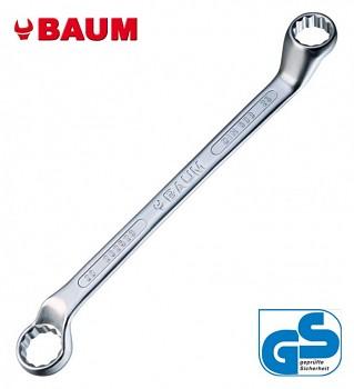 Klíč vyhnutý 75° maticovy očkový 14 x 15 DIN 838 CrV chromovaný Baum