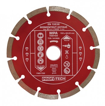 Kotouč diamantový segmentový standart 150 / 22 mm PROFI-TECH