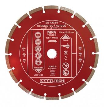 Kotouč diamantový segmentový standart 230 / 22 mm PROFI-TECH