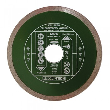 Kotouč diamantový celoobvodový standart 125 / 22 mm PROFI-TECH