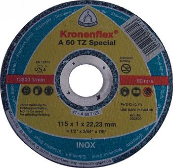 Řezný kotouč na inox A 60 TZ Special 115 x 1,0 x 22 Klingspor