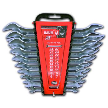 Sada maticových klíčů oboustranných otevřených 10 ks DIN 3110 Baum