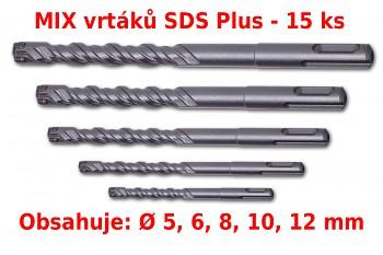 MIX 15 ks čtyřbřitých vrtáků SDS Plus