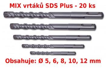 MIX 20 ks čtyřbřitých vrtáků SDS Plus