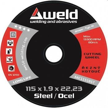 Řezný kotouč na ocel 115 x 2,5 x 22 AWELD