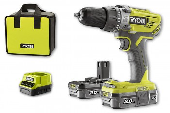 Ryobi R18PD3-220S  dvourychlostní příklepová vrtačka 18V/2x2,0Ah  ONE+
