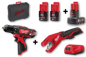 START SET 4 M12  Milwaukee M12BDD + C12PC + 3x aku