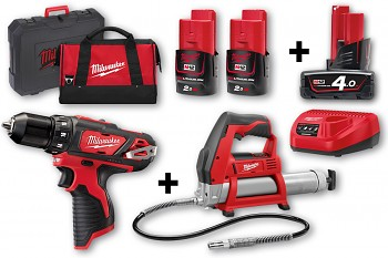START SET 5 M12  Milwaukee M12BDD + M12GG + 3x aku