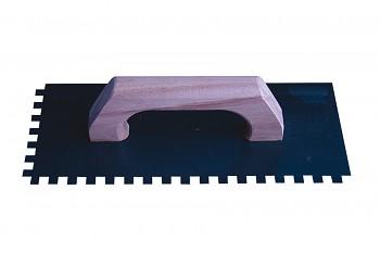 Hladítko ocelové zubové E6 s dřevěnou rukojetí 280 x 120 mm